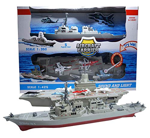 Aircraft Carrier Toy,with 5 Aircrafts Includes Destroyer Ship