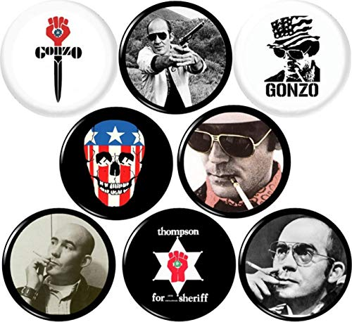Hunter S Thompson x 8 New 1' inch (25 mm) Buttons pin Badges Gonzo RIP Fear...
