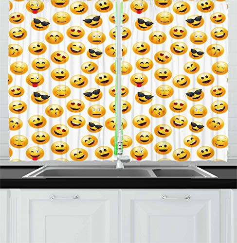 Ambesonne Emoji Kitchen Curtains, Smiley Face Character Illustration...