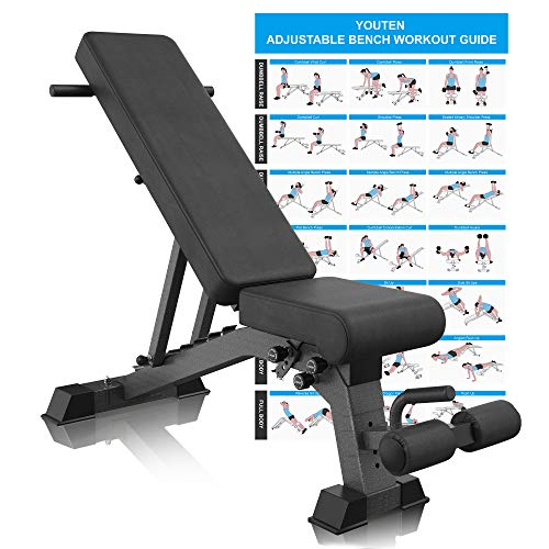 YouTen Adjustable 9 Positions Incline Decline Sit Up Bench Improved Cushion...