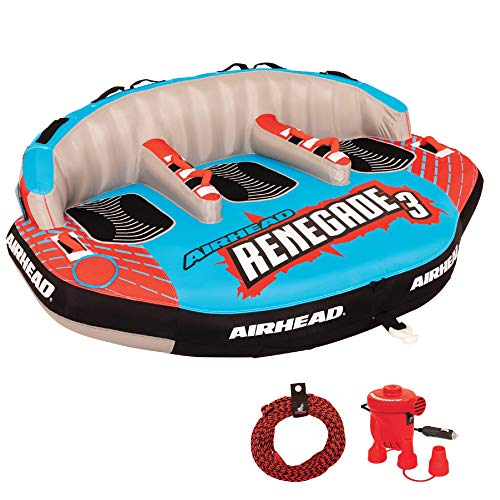 Airhead AHRE-503 Renegade Big 3 Person Inflatable Towable Water Tube Seat...