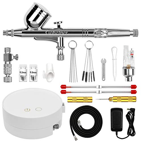 Gohelper Automatic Shutdown Airbrush kit with Compressor Dual-Action air...