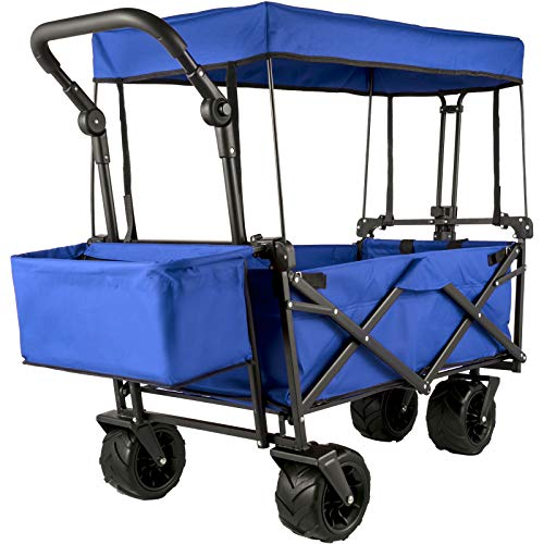 Happbuy Extra Large Collapsible Garden Cart/Wagon with Removable Canopy,...