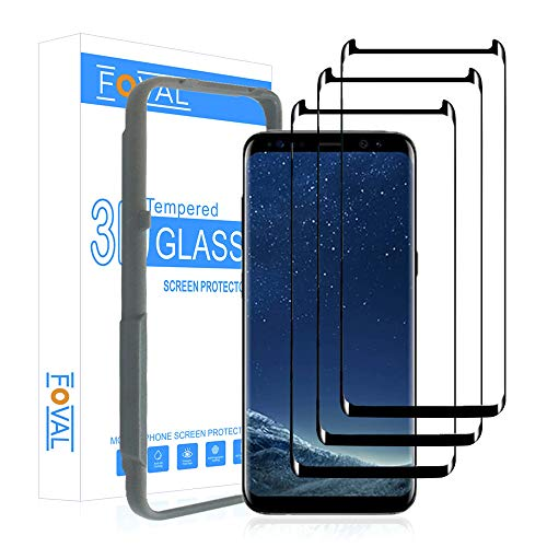 (3 Pack) Tempered Glass Screen Protector for Samsung Galaxy S8 FOVAL 3D...