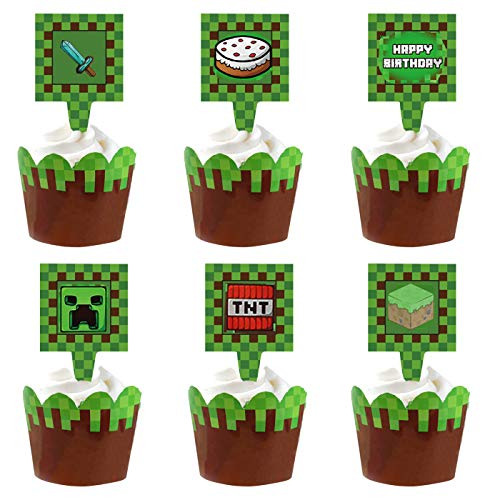 34pcs Pixel Miner Cupcake Wrapper and Cupcake toppers Happy Birthday Party...