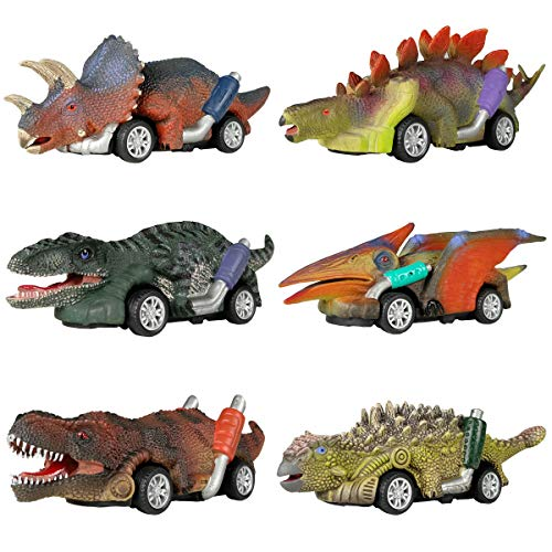 DINOBROS Dinosaur Toy Pull Back Cars, 6 Pack Dino Toys for 3 Year Old Boys...