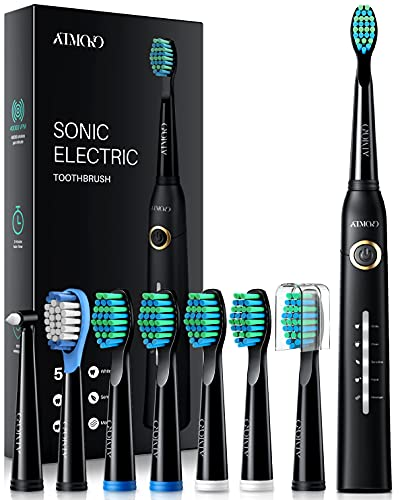 ATMOKO Electric Toothbrush with 8 Duponts Brush Heads, 5 Modes, 4 Hour Fast...