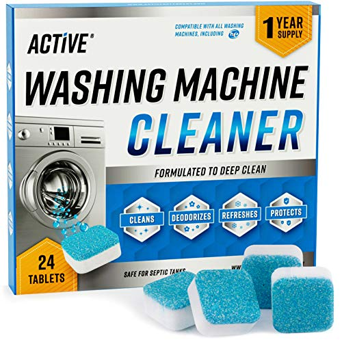 Washing Machine Cleaner Descaler 24 Pack - Deep Cleaning Tablets For HE...