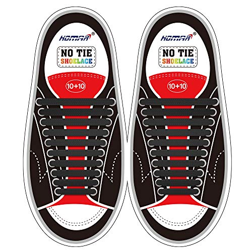 HOMAR No Tie Shoelaces for Kids and Adults Stretch Silicone Elastic No Tie...