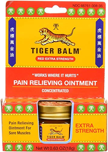 Tiger Balm Pain Relieving Red Extra Strength, 18g – Relief for Sore...