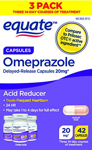 Equate Acid Reducer Omeprazole Capsules, 20 mg, 42 Count, 3 Pack x 2 (Total...