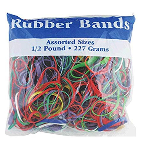 BAZIC 465 Multicolor Rubber Bands for School, Home, or Office (Assorted...