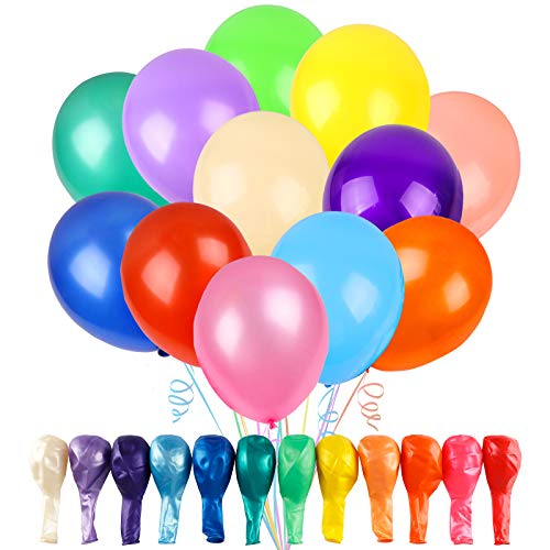 RUBFAC 120 Balloons Assorted Color 12 Inches 12 Kinds of Rainbow Latex...