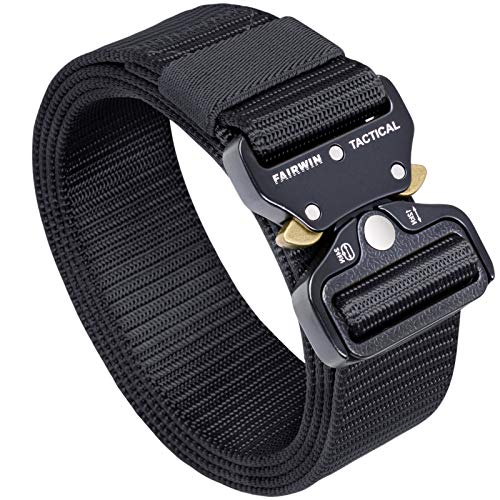 FAIRWIN Tactical Belt, Military Style Webbing Riggers Web Belt with...