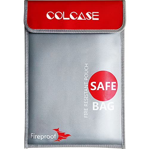 COLCASE Fireproof Document Bag (2000 ℉ )15 x 11 Inches Silicone Coated...