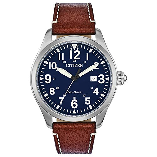 Citizen Eco-Drive Garrison Quartz Mens Watch, Stainless Steel with Leather...