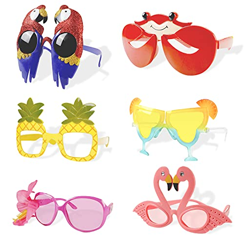 Luau Party Sunglasses,6 Pairs Hawaiian Funny Glasses for Summer Party...