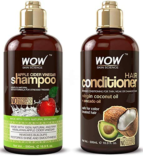WOW Apple Cider Vinegar Shampoo and Hair Conditioner Set Increase Gloss,...