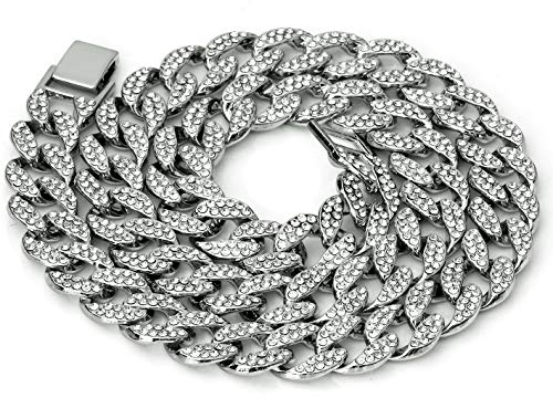 Mens Iced Out Hip Hop Silver or Gold Tone CZ Miami Cuban Link Chain 16' 18'...