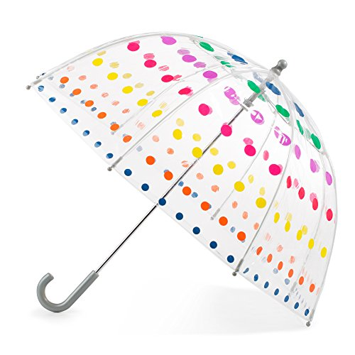 totes Kid's Clear Bubble Umbrella with Easy Grip Handle, Dots