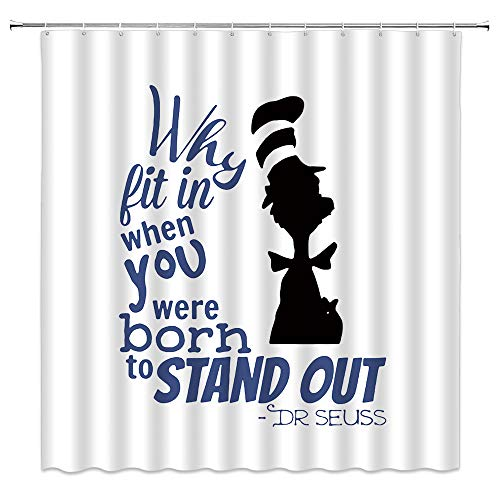 Inspirational Quotes Shower Curtain Kids Why Fit in When You were Born to...
