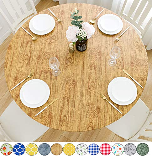 Rally Home Goods Indoor Outdoor Patio Round Fitted Vinyl Tablecloth,...
