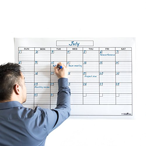 WallDeca Monthly Dry Erase Wall Calendar Planner Whiteboard: Wipe Off...