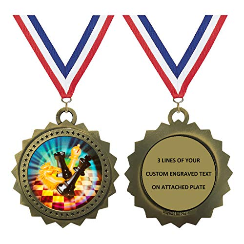 Chess Gold Medals Trophy Award with Free Custom Engraving D03-MY414 1PK