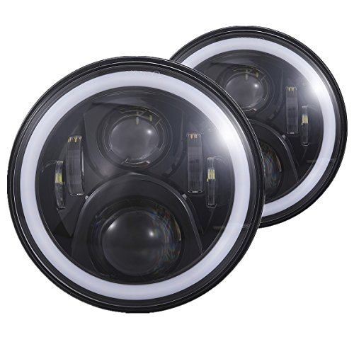 H6024 7 inches Black Led Headlight with White Halo and Amber Turn Signal...