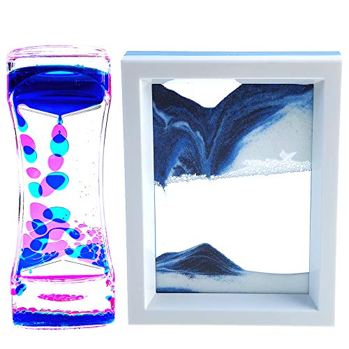 FKYTION Liquid Motion Bubbler Timer and Moving Sand Art Picture 2 Pack...