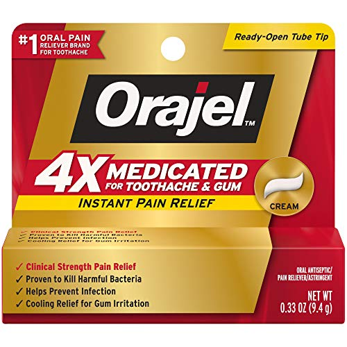 Orajel 4X for Toothache & Gum Pain: Severe Cream Tube 0.33oz- From #1 Oral...