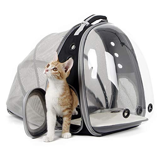 Back Expandable Cat Backpack, Space Capsule Transparent Pet Carrier for...