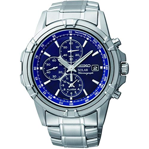 Seiko Men's Chronograph Solar Powered Watch with Stainless Steel Strap...