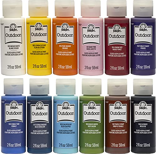 FolkArt Outdoor Gloss Acrylic Craft Paint Set Designed for Beginners and...