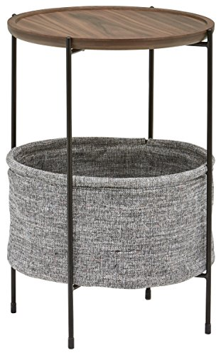 Amazon Brand – Rivet Meeks Round Side Table with Fabric Storage Basket,...