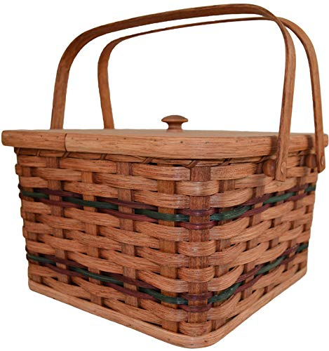 Amish Handmade Large Square Double Pie Carrier Basket with Inside Tray,...