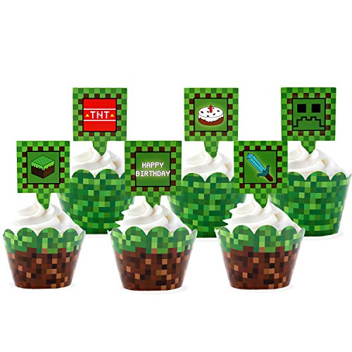 24 Pcs Pixel Cupcake Toppers and Wrapper Happy Birthday Party Printable...