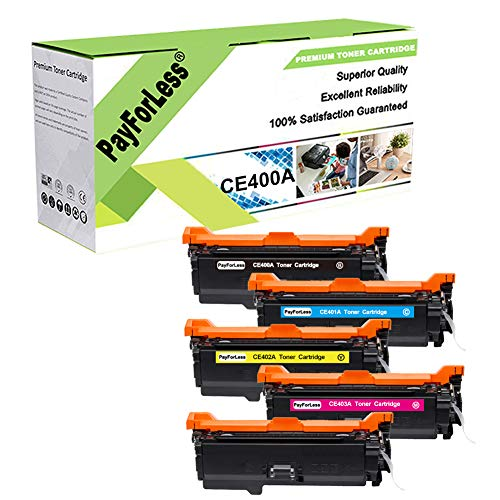 PayForLess 507A CE400A Toner Cartridge 5PK Compatible for HP Colored...