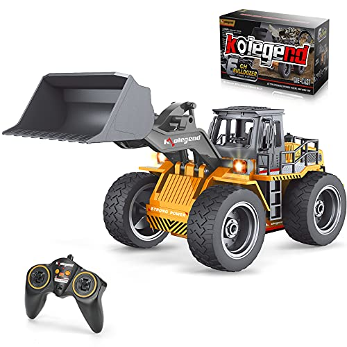 kolegend Remote Control Bulldozer Toy Truck, 1/18 Scale RC Metal Rc Front...