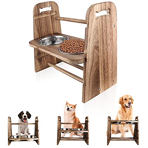 [Updated 2nd] LByzHan Elevated Dog Bowls, 3-in-1 Adjustable Height 4in 8in...