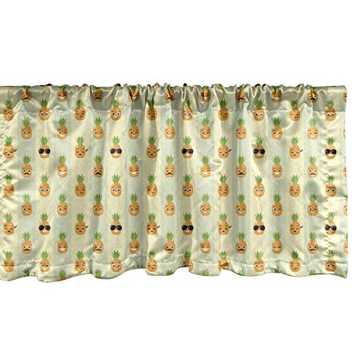 Lunarable Yellow Pineapple Window Valance, Cool and Whimsical Faces Emojis...