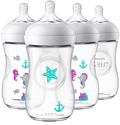 Philips Avent Natural Baby Bottle, Clear with Seahorse design, 9 Ounce, 4...