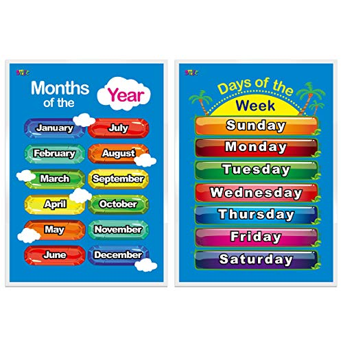Days of the Week, Months of the Year,2 LAMINATED Educational Posters for...