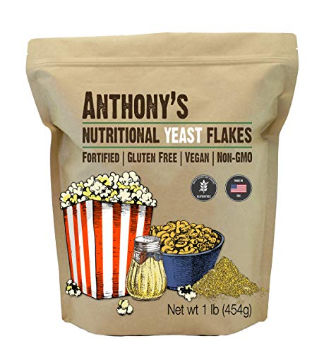 Anthony's Premium Nutritional Yeast Flakes, 1 lb, Fortified, Gluten Free,...