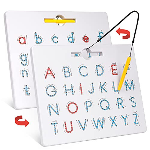 Gamenote Double Sided Magnetic Letter Board - 2 in 1 Alphabet Magnets...