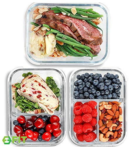 1 & 2 & 3 Compartment Glass Meal Prep Containers (3 Pack, 35 oz) - Glass...