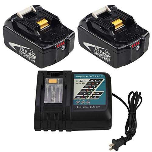 2 Packs 6.0Ah BL1860B Battery and DC18RC Charger for Makita 14.4V 18V LXT...