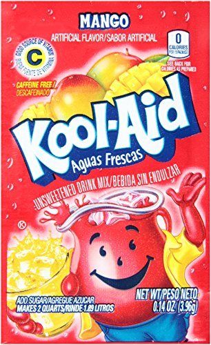 Kool-Aid Mango Unsweetened Soft Drink Mix, 0.13-Ounce Packets (Pack of 48)