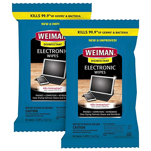 Weiman Electronic Disinfecting Wipes- 2 Pack - Safely Clean Your Laptop,...