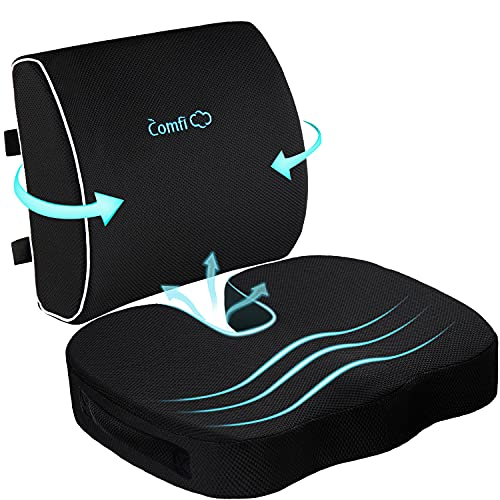Coccyx Seat Cushion and Lumbar Support Pillow for Office Chair-Gel...